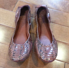 EUC $250 Authentic TORY BURCH *EDDIE* Brown SNAKE SKIN Ballet Flats Shoes Size 8