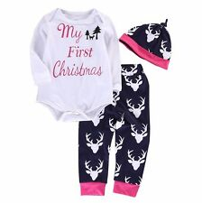 MY FIRST CHRISTMAS Infant Baby Boys Girl 3Pc Outfit Beanie Bodysuit Pant Clothes