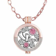 Love Feet Mom Kid My Coin  Crystal Disc Locket Pendant Necklace Party Jewelry