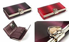 Womens Genuine patent leather trifold gradation clutch wallet with heart crystal