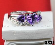 New Sterling Silver 925 Three Stone Heart Shaped Purple Amethyst Engagement Ring
