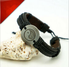 Wrap Leather Yin Yang Infinity Bracelet Mens Womens Multilayer Chain Jewelry