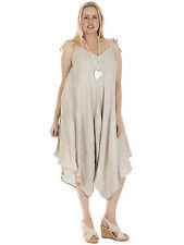 Womens Italian Lagenlook Bow Strappy Linen Baggy Jumpsuit Plus Size 12 14 16 18