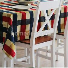 Cotton Linen Tablecloth Home Dining Table Cover Blue and Red 7 Sizes