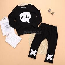 2Pcs Baby Girl Cotton Clothes Tops Long Sleeve T Shirt + Pants Black Outfit Set