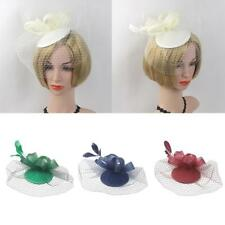 Bridal Fascinator Hairclip Wedding Headpiece Veil Feather Hairpins Mini Hat