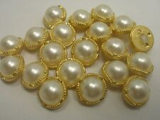 New 12 White plastic Imitation Pearl Buttons w gold trim sizes 5/8,1/2, 7/16 #BN