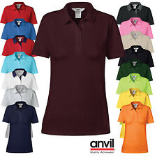 Anvil Womens Semi Fitted Short Sleeve Casual Polo Shirt Ladies Work Everyday Top