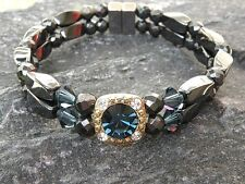 Women's Magnetic Hematite Bracelet Anklet 2 Row 9 Colors with Swarovski Crystal