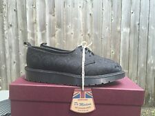 NIB Dr Martens Women's Langi Black Silk Oxfords Shoe Made in England