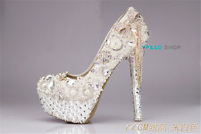 Women's Crystal flower Bowknot wedding shoes Party Evening Pumps High-Heel Shoes