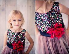 Red Sequin Party Dress Colorful Layered Tulle Skirt Girls Size  5 6 7 8 10 12 14