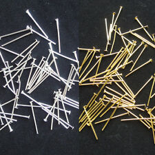 200PCS Silver / Gold Plated Head Pins 16mm Findings Craft Beading Metal Flat 0YT