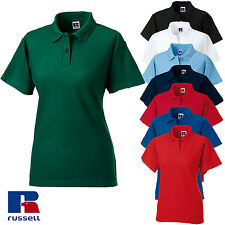 Russell Women's Classic Short Sleeve Polo Shirt Ladies Fit Plain Classic Top New
