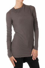 RICK OWENS New Woman Brown Silk blend Long sleeve Tee t-shirt Made in Italy