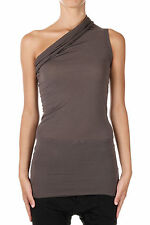 RICK OWENS New Woman Brown Silk blend ONE SHOULDER Top T-shirt Made Italy NWT