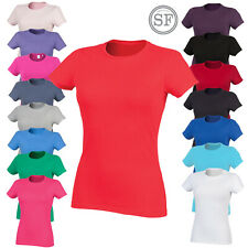 Womens Short Sleeve Crew Neck Everyday T-Shirt Casual Soft Ladies Plain Top New