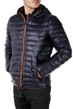 DUVETICA New Men Blu Down Padded Coat TROILO  Nylon Zipped Jacket Hooded