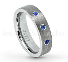 0.21ctw Blue Sapphire 3-Stone Ring, 6mm Tungsten Ring, September Birthstone #019