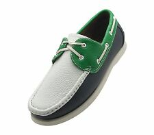 NEW Mens Boat Shoes Lace Up Loafer Deck Moccasin Oxford Sneaker WHITE GREEN