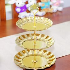 3 Tier Stand Stainless Steel Crown Cake Dessert Fruit Plate Wedding Party Decor