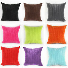 Stripes Velvet Solid Color Throw Pillow Cases Square Home Sofa Cushion Covers
