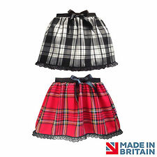 NEW Ladies RED Tartan check Gothic Punk Rock LACE mini Skirt Party BOW STEAMPUNK