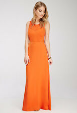 Forever 21 Orange Contemporary Chiffon-paneled Maxi Dress XS