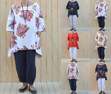LADIES LINEN LAGENLOOK QUIRKY FLORAL TUNIC TOP PLUS SIZE 16,18,20,22,24,26 3118*
