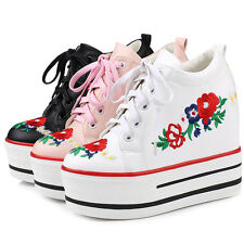 Womens Platform Hidden Wedge Heel Lace Up Floral Ankle Boots SHoes All US Sz New
