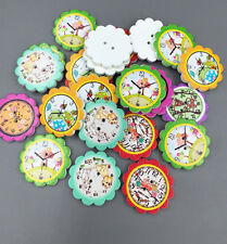Wooden Animal prints Clocks flower Buttons Sewing Scrapbooking crafts 25mm