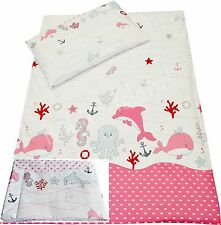 Cot/cot bed/ Toddler/Single bedding NAUTICAL PINK  100% Cotton