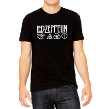 Led Zeppelin IV Zoso Four Runes Symbols 100% Cotton Black Shirt