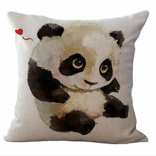 Black and White Panda Cushion Covers Cotton Linen Throw Pillow Case