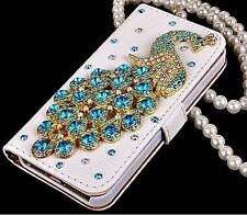 Luxury Bling Diamond Crystal Peacock Leather Flip Wallet Phone Cards Case Cover