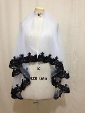white/ivory 2 T Tulle elbow Wedding Bridal Veil With Black Lace edge veil+comb