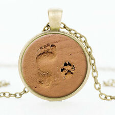 value Footprint ilver Dog Paw Print Pendant Necklace for Lover Jewelry Gift CHI
