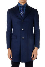 CORNELIANI New Men Blue Virgin Wool Coat Single Breasted Jacket Made Italy