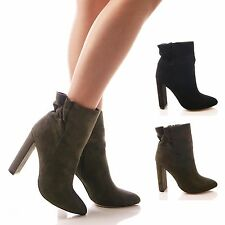 LADIES WOMENS ANKLE BOOTS ELASTIC BACK BLOCK HEEL FAUX SUEDE FORMAL SHOES SIZE