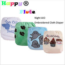 1PCS Happy Flute Embroidered Cloth Diaper Night AIO Baby Sleep Diaper Super soft