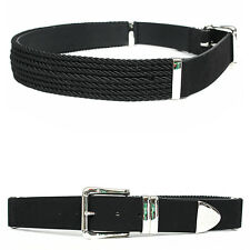 Men's Fashion Multi Rope Styling Silver Buckle Black Leather Belt, GENTLERSHOP
