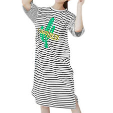 Women Loose Letters Cacti Prints 3/4 Sleeves Striped T Shirt Dress