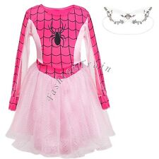 Halloween Spider Girl Kid Hero One Piece Costume with Mask Cosplay Party Dress