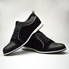 Mens New Shoes Black Luxury Trainers Leather Suede Lace Smart UK 6 7 8 9 10 11