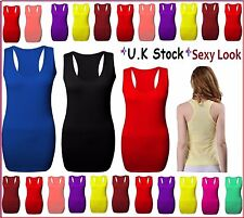 New Ladies Long Sleeveless Bodycon Racer Back Muscle Vest Women Maxi Top 6-18rcr