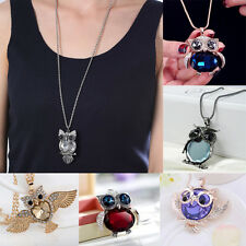 Womens Fashion Owl Crystal Rhinestone Pendant Necklace Sweater Chain Jewelry