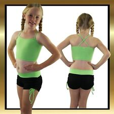 Black & Green Tie Side Childrens Dance Shorts and Matching Fluro Green Crop Top