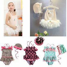 Baby Kid Girl Swimwear Swimsuit Swimming Costume Summer Beach Outfit+Hat Set 1-6