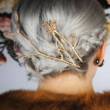 Unique Metal Tree Branch Hairpins Gold Silver Hair Clips for Women Bobby Pins