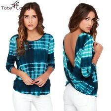 Plus Size Women Sexy Knot Backless Tie Dye Long Sleeve Top Slim Blouse T-Shirts